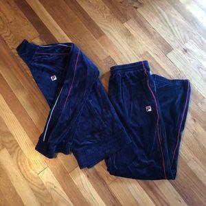 Fila Pants - Vintage Fila Velour Tracksuit SZ M
